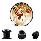 Piercingfaktor Ohr Plug Flesh Tunnel Piercing Schmuck Picture Weihnachts Motiv Schneemann Geschenk 8mm