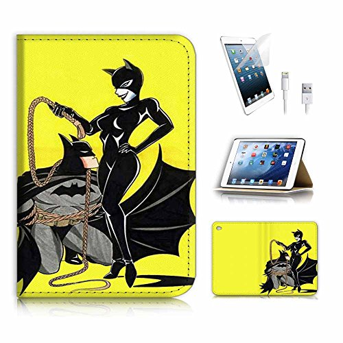 (für iPad Mini 4, Generation 4) Flip Wallet Schutzhülle & Displayschutzfolie Bundle. A4295Catwoman Batman