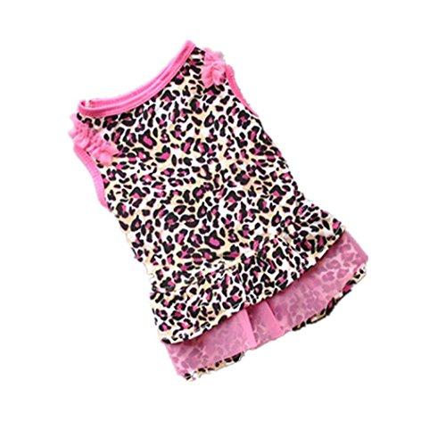 Weihnachten Haustier Kleidung, Hmeng Hund Welpen Niedlich Leopard Kapuzenpullis Sommerkleid Kleiner Hund Katze Shirt Bekleidung (M, Leopard) (Cocker Spaniel Kleidung Für Hunde)