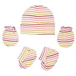 132 New Born Baby Premium Quality Cotton Cap, Mittens and Socks   0-6 Months (Orange)
