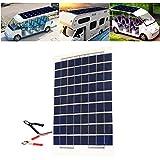 Lembeauty 18V 10W Tragbares Solar Panel Akku Ladegerät Backup mit Zigarettenanzünder-Stecker für Automobil Motorrad Auto Boot