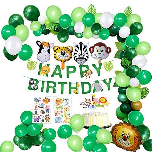 tstag Dekorationen Junge- Happy Birthday Girlande mit Palmblättern, Latex Luftballons und Safari Wald Tier für Geburtstagsdeko Jungen Baby Dusche Hawaiian Decor (65pcs) ()