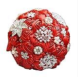 Tenant la flor, cristal encaje Roses dama de honor boda ramo de novia en seda artificial flores romántico novia tenant de los suministros de boda ramo