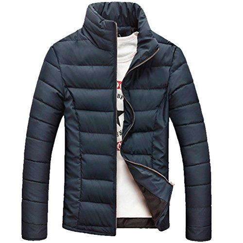 Zhhlaixing Classique Winter Mens Windbreaker Jackets Warm Outerwear Stand Collar Coats Dark Blue