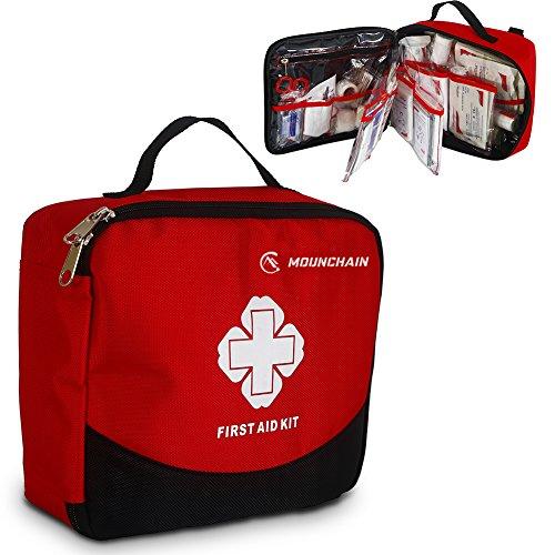 Mounchain Erste Hilfe Set, 148 -teilig Erste Hilfe Koffer, Erste Hilfe Kasten, Erste Hilfe Tasche für Haus, Auto, Camping, Jagd, Reisen, Natur und Sport (Transparent)