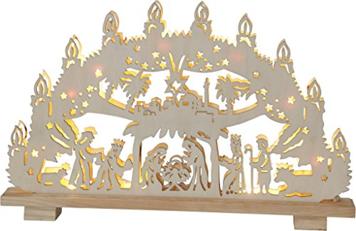 "Star LED-Fensterleuchter\""Hilden\"" Holz braun 5 x 45 x 29 cm"