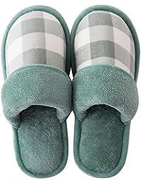 Hishoes Herbst Winter Warm Korallen Samt Pantoffeln Hausschuhe Baumwolle Weiche Home Slipper Rutschfeste Indoor Schuhe für Herren Damen 1177UfsSaD