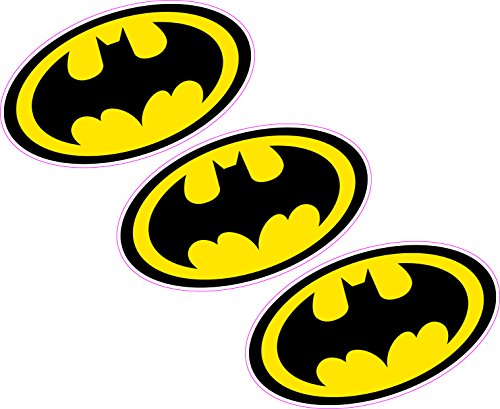 3 x Batman Logo 80 mmx46 mm Wappen Vinyl Aufkleber Wand Auto Laptop Superheld Comic Book -