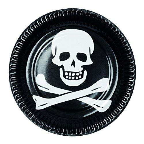 party Einwegteller Totenkopf Halloween 23 cm Partyteller Pirat Einweggeschirr Piratengeburtstag (Pirat Für Halloween)
