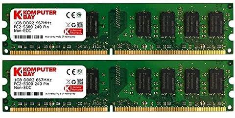 Komputerbay Mémoire pour ordinateur de bureau DDR2 667 MHz PC2-5300 PC2-5400 667 DIMM 240 broches 2 Go 2 x 1 Go 2 Go (2 x1 Go)