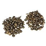 Baoblaze 100 Piezas de Remaches Rápidos Reparación de Cuero Fácil de Usar en Prenda Bolsos de Bricolaje DIY - Bronce, 9 mm x 5 mm, 9 mm x 8 mm