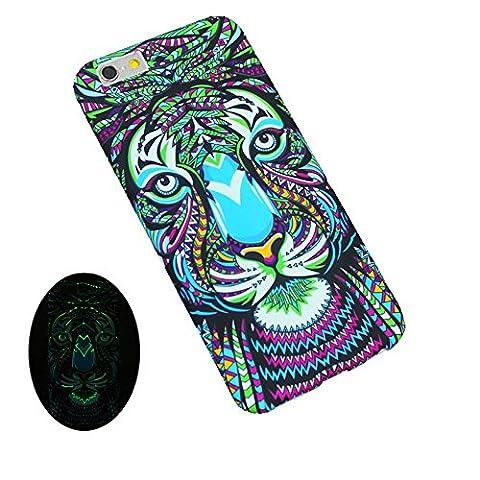 """Jinberry Totem Matte Coque Lumineuse pour iPhone 7 (4.7"""") / Étui Ultra Fine en TPU Souple Anti Empreintes / Silicone Peinture Housse Bumper de Protection pour Apple iPhone7 - Tigre"""
