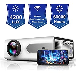 HOLLYWTOP Retroprojecteur Home Cinéma , Mini Vidéo Projecteur de 4200 Lumens Amélioré avec,Videoprojecteur Wifi 60000 Heures de Vie LED,mini projecteur des Soutiens 1080P USB/ HDMI/ SD/ AV/ VGA -Blanc