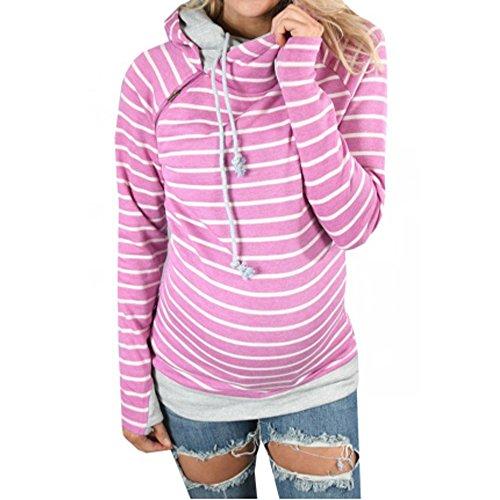 cooshional Damen Kapuzenpullover Sweatshirts Hoodie Sport Oversize Outerwear Streifen Rosa Rot