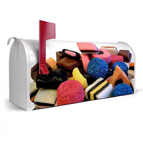 BANJADO US Mailbox | Amerikanischer Briefkasten 51x22x17cm | Letterbox Stahl weiß | mit Motiv Lakritz, Briefkasten:mit schwarzem Standfuß -