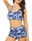 Ekouaer Damen Lace Splicing Halter Neckholder Padding Badeanzüge two pieces Bikinis Bandeau Neckholder Bademode, Blau 444, EU 38(Herstellergröße: M)