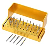 Anself 1 Set Dentale 30Pcs Dentale Diamantate Trapano Disinfezione + Blocco Manipolo Holder
