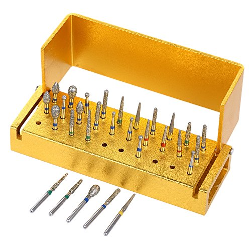 Anself 30St Dental Burs Diamantbohrer Desinfektion + Aluminium Block High Speed ​​Handstück Halter