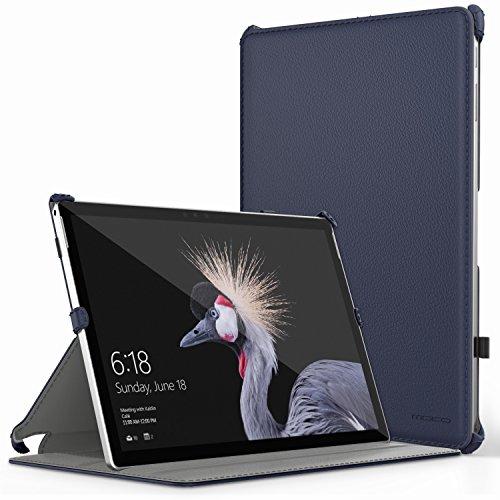 MoKo Microsoft Surface Pro 2017/Pro 4/Pro LTE/Pro 6 Hülle,PU Tasche mit Stift-Schleife Standfunktion für Pro 3 Tablet-PC, Marineblau