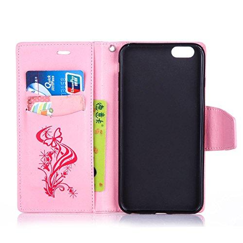 Qiaogle Telefon Case - PU Leder Wallet Schutzhülle Case für Apple iPhone 6 Plus / iPhone 6S Plus (5.5 Zoll) - YX04 / Braun Diamant Löwenzahn YX12 / Pink Diamant Schmetterling Blume