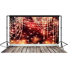 Musykrafties Christmas Occasions Star Sparkles Setting with Wooden Floors Photography Backdrop Background Party Wall Photo Booth Props Red 10x10ft