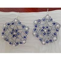 Orecchini al chiacchierino color argento con Swarovski blu