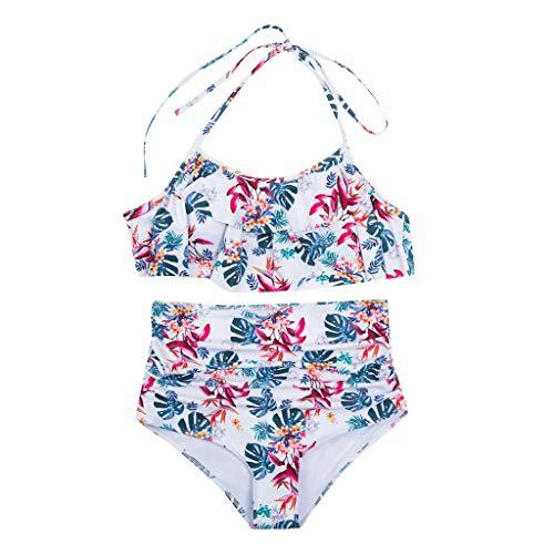 VECDY Madre E Hija Moda Floral Traje De Baño De Dos Piezas Ropa De Baño A Juego Ropa De Playa Cintura Alta con Volantes Linda Bikini Familia(Blanco,L)