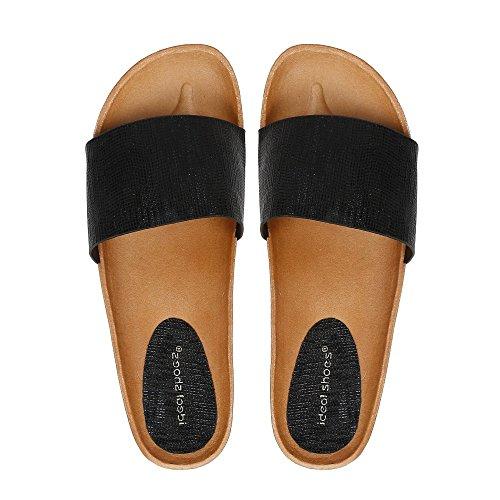 Ideal Shoes - Mules semi-compensées effet pailletées Venere Noir