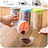 [Sponsored]Moxie Transparent Plastic Lock Food Storage, Container, Storage Container For Kitchen Use Dispenser Airtight Container Jar For Cereals, Snacks, Pulses -3 Section (Pack Of 4)
