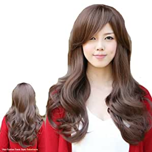 Elegant Long Curly Brown Hair for Party Big Wave Wig Ladies Wig Hair Wigs Front Lace Wigs For Women