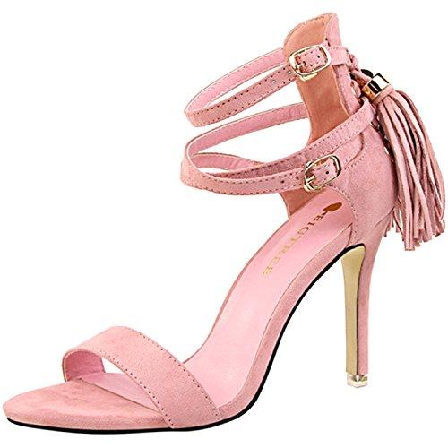 Oasap Women's Open Toe Ankle Strap Tassel Stiletto Sandals Pink
