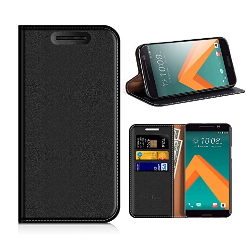 MOBESV HTC 10 Hülle Leder, HTC 10 Tasche Lederhülle/Wallet Case/Ledertasche Handyhülle/Schutzhülle mit Kartenfach für HTC 10 - Schwarz