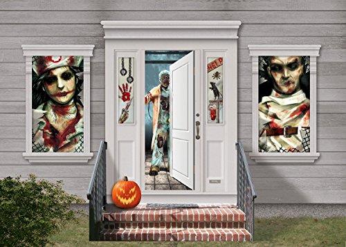 Halloween Irrenanstalt Horror Tür Fenster Dekoration Set (Irrenanstalt Halloween)