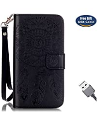 Funda Galaxy S7,Funda Cover Galaxy S7,Aireratze Slim Case de Estilo Billetera Carcasa Libro de Cuero,Carcasa PU Leather Con TPU Silicona Mandala Dream Catcher Flower Case Interna Suave [Función de Soporte] [Ranuras para Tarjetas y Billetera] [Cierre Magnético] para Samsung Galaxy S7 (Negro) (+ Cable USB)