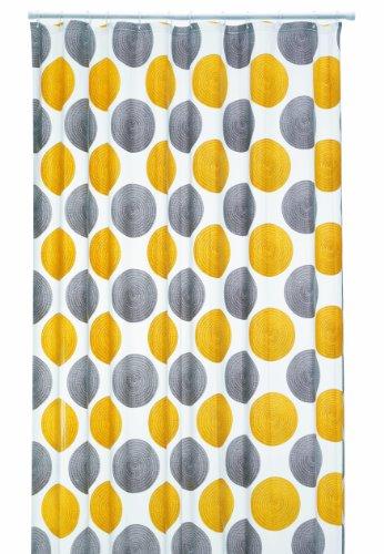 Duschvorhang-ringe Gelb (Duschvorhang Lamara gelb, graue Kreise 180cm breit x 200cm lang mit Ringe aus PEVA)