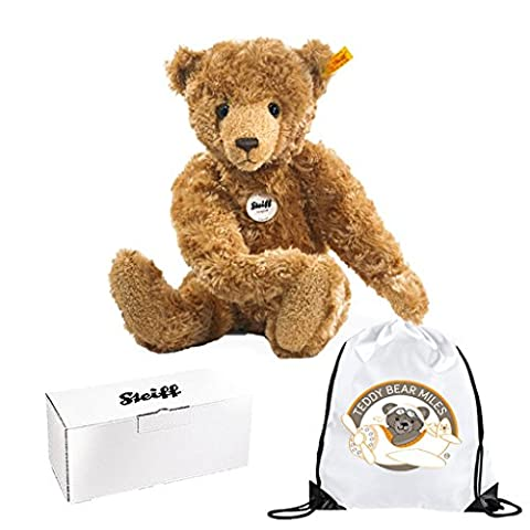 Collectable Authentic Steiff George Teddy Bear - 40 cm and Reusable Gift Bag - Adorable Plush Bear - Ladies Women Lady Woman Her - Get Well Soon Present Gift Idea - Suitable From