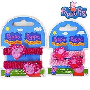 COUPLE ELASTIQUE CHEVEUX Peppa Pig COULEUR pinces à cheveux 064 445
