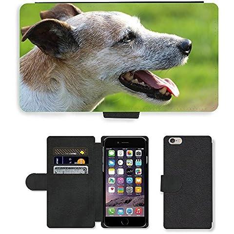PU Flip Carcasa Funda de Cuero Piel Cubre Case // M00133651 Cane Capo Close Parson Russell Terrier // Apple iPhone 6 PLUS 5.5