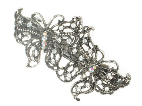 Glitz4Girlz Antique Silver Butterfly Barrettes by Glitz4Girlz