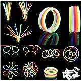 Hepooya Pack de 100 Varitas Luminosas para Fiestas 20 cm - 8 Colores Luminosas, con Accesorios- Pulseras, Collares, Cinco kits para Crear Gafas, Pulseras Triples, Dos Diadema, Dos Flores, Una Bola Luminosa