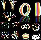 Hepooya-Pack-de-100-Varitas-Luminosas-para-Fiestas-20-cm-8-Colores-Luminosas-con-Accesorios-Pulseras-Collares-Cinco-kits-para-Crear-Gafas-Pulseras-Triples-Dos-Diadema-Dos-Flores-Una-Bola-Luminosa