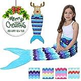 Meerjungfrau-Schwanz-Aussehen-Decke Bequemes Material Vier Jahreszeiten verwendbar das späteste Art-Mädchen-Schlafsofa Behalten Sie warmes weiches (HELLBLAU)