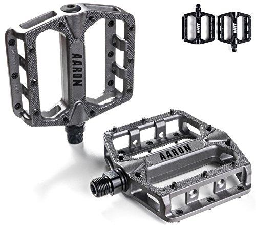 AARON Rock Set Pedali Flat in Alluminio per Bici Mtb [Mountain Bike, Ciclocross, Bicicletta da Trekking, Enduro, Cross] con Extra Grip Antiscivolo e Cuscinetti Industriali – Grigio