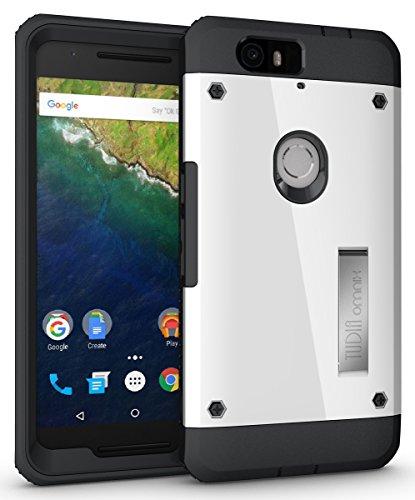 Nexus 6P Coque, TUDIA Ultra Robuste OMNIX Lourd Devoir Hybride Corps Entier Protecteur Coque avec Front Cover et Built-in Protecteur d'écran / Pare-chocs Résistants Aux Impacts Cover pour Google Nexus 6P (Blanc)