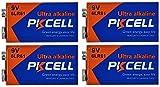 PKCELL 4 x 6LR61 9V Block Alkaline Batterie MN1604 (4 Blister a 1 Batterie
