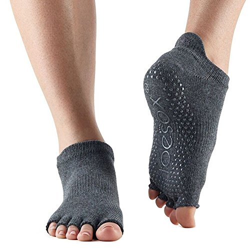 Toe Sox Half Toe Low Rise Yoga-Socken, Unisex Erwachsene XL Grau (Charcoal Grey)