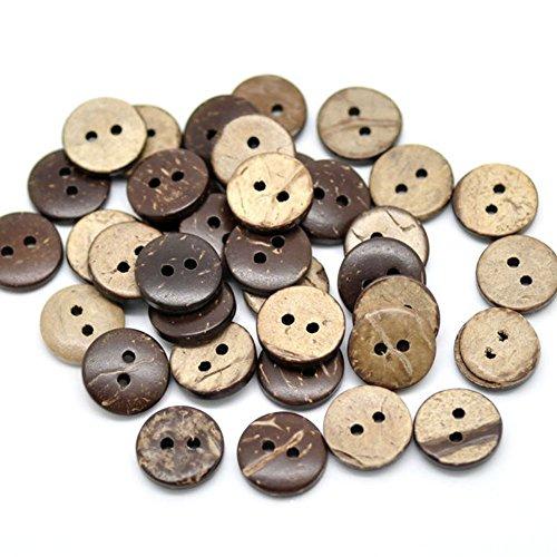 200psc Holz-Kokosnuss-shell-lines Tasten 2Löcher Tasten für Nähen und Basteln DIY Craft