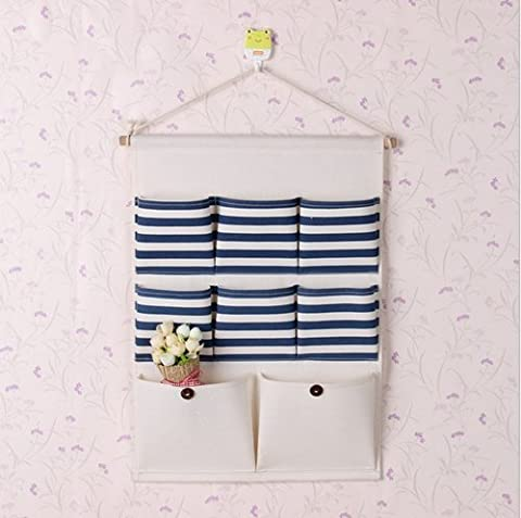 5exy-Linen/Cotton Fabric Wall Door Closet Hanging Storage Bag Organizational ,blue,8 pocket