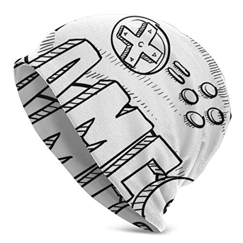 Top Level Beanie Men Women - Doodle Style Video Games Typography Design with A Controller Sketch Artwork - Unisex Cuffed Plain Skull Knit Hat Cap