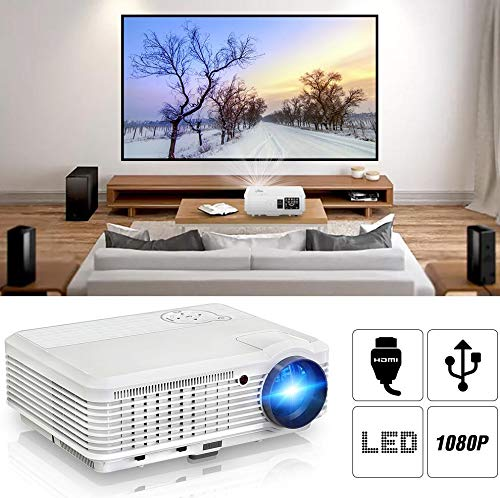 Proiettore per teatro Home Cinema LED portatile CAIWEI 4500 Lumen Supporto 1080P HD, Videoproiettore LCD per film da gioco Arte Outdoor Party con cavo HDMI (Manuel anglais et UK Plug)